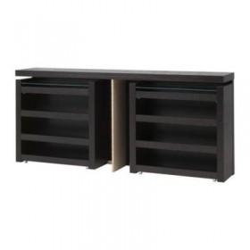 MALM Headboard / meja tepi katil, pcs 3 - hitam dan coklat, 180 cm