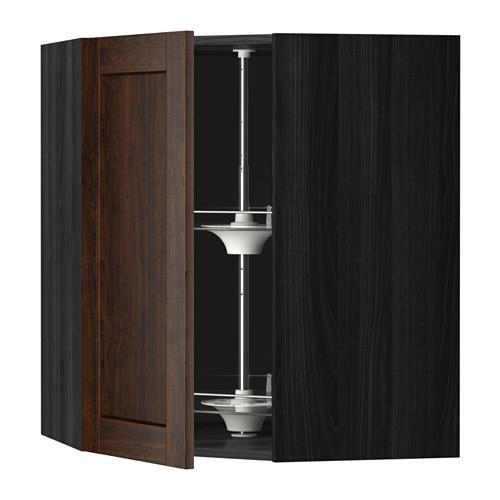 МЕТОД Угл нвсн шкф с вращающ секц - 68x80 см, Эдсерум под дерево коричневый, под дерево черный