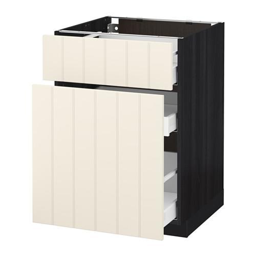 МЕТОД / МАКСИМЕРА Напольн шкаф/выдвижн секц/ящик - 60x60 см, Хитарп белый с оттенком, под дерево черный