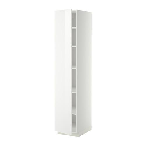 МЕТОД Высок шкаф с полками - 40x60x200 см, Рингульт глянцевый белый, белый