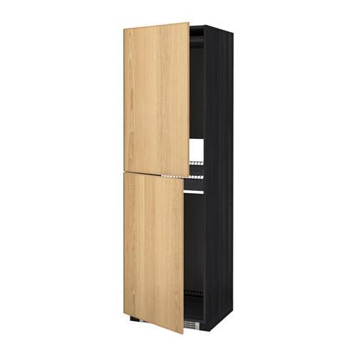 МЕТОД Высок шкаф д холодильн/мороз - 60x60x200 см, Экестад дуб, под дерево черный