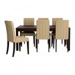 БЬЮРСТА/ХЕНРИКСДАЛЬ Стол и 6 стульев - полоска/Лингхем светло-коричневый, коричнево-чёрный