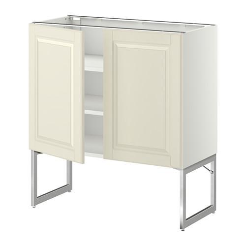 МЕТОД Напол шкаф с полками/2двери - 80x37x60 см, Будбин белый с оттенком, белый