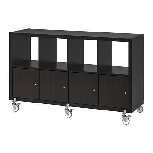 Kallax Rack / 4 door / wheels - black-brown