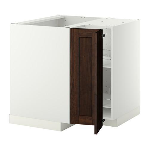 МЕТОД Угл напольн шкаф с вращающ секц - Эдсерум под дерево коричневый, белый