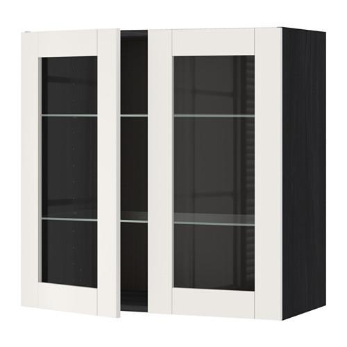 МЕТОД Навесной шкаф с полками/2 стекл дв - 80x80 см, Сэведаль белый, под дерево черный