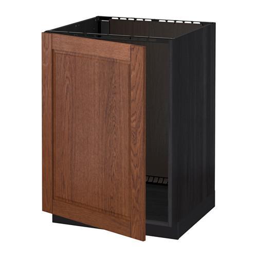МЕТОД Напольный шкаф для раковины - Филипстад коричневый, под дерево черный