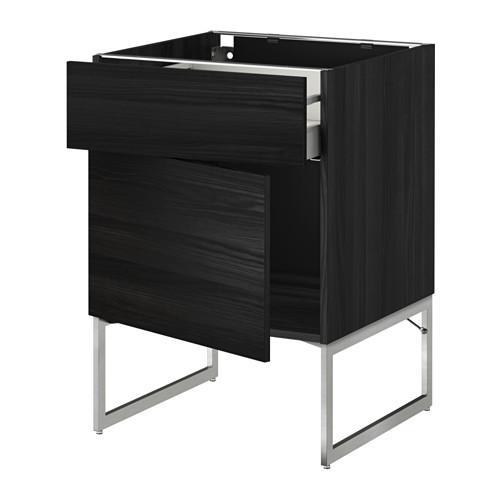 МЕТОД / МАКСИМЕРА Напольный шкаф с ящиком/дверью - 60x60x60 см, Тингсрид под дерево черный, под дерево черный