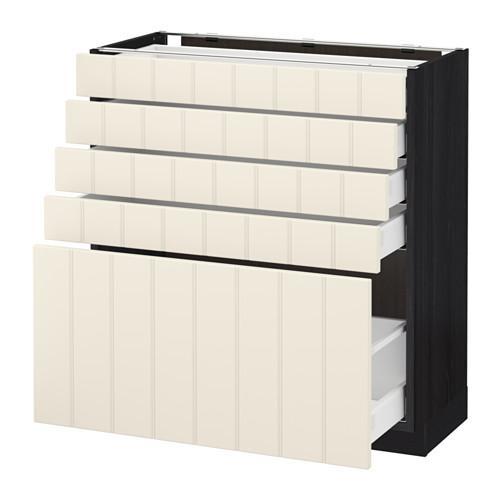МЕТОД / МАКСИМЕРА Напольный шкаф с 5 ящиками - 80x37 см, Хитарп белый с оттенком, под дерево черный