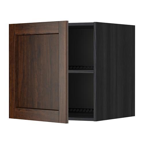 МЕТОД Верх шкаф на холодильн/морозильн - 60x60 см, Эдсерум под дерево коричневый, под дерево черный
