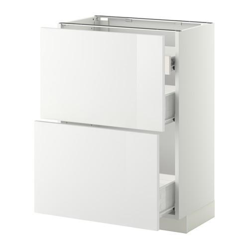 VERFAHREN / FORVARA Nap Schrank 2 FRNT PNL / 1nizk / 2sr Schubladen - weiß, glänzend weiß Ringult, 60x37 cm