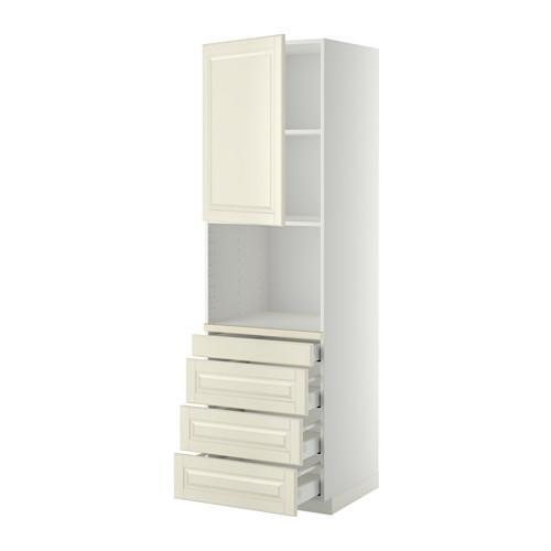 МЕТОД / МАКСИМЕРА Высокий шкаф д/комбинир СВЧ/4 ящика - 60x60x200 см, Будбин белый с оттенком, белый