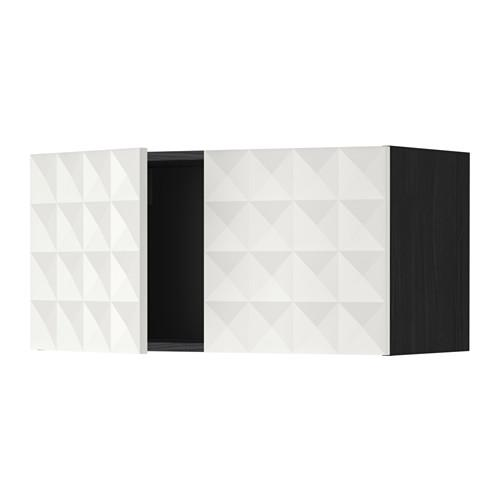 МЕТОД Навесной шкаф с 2 дверями - Гэррестад белый, под дерево черный