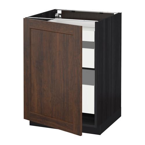 МЕТОД / МАКСИМЕРА Напольный шкаф с 1двр/3ящ - под дерево черный, Эдсерум под дерево коричневый, 60x60 см