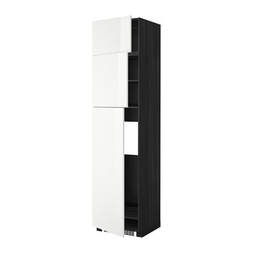 МЕТОД Высокий шкаф д/холодильника/3дверцы - Рингульт глянцевый белый, под дерево черный