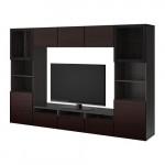 БЕСТО Шкаф для ТВ, комбин/стеклян дверцы - черно-коричневый Синдвик/Инвикен черно-коричневый прозрачное стекло, направляющие ящика, плавно закр