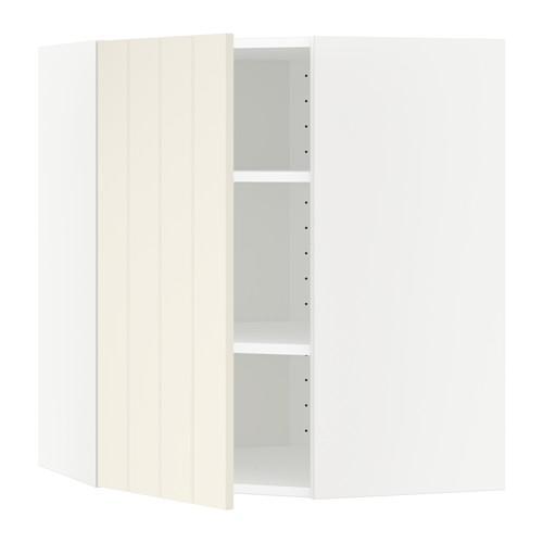 МЕТОД Угловой навесной шкаф с полками - 68x80 см, Хитарп белый с оттенком, белый