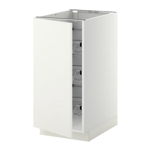 МЕТОД Напольный шкаф с проволочн ящиками - 40x60 см, Хэггеби белый, белый