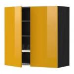 МЕТОД Навесной шкаф с посуд суш/2 дврц - 80x80 см, Ерста глянцевый желтый, под дерево черный