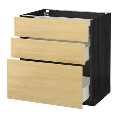 MÉTODO / gabinete FORVARA Base con cajones 3 - 80x60 cm Tingsrid abedul, madera negro