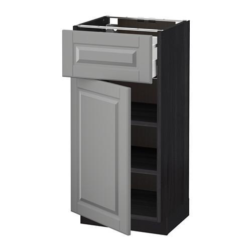 МЕТОД / МАКСИМЕРА Напольный шкаф с ящиком/дверью - 40x37 см, Будбин серый, под дерево черный