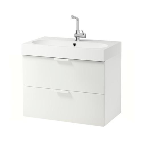 Mueble lavabo BRÅVIKEN / GODMORGON con cajón 2 blanco 80x48x68 cm