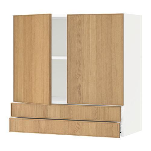МЕТОД / МАКСИМЕРА Навесной шкаф/2дверцы/2ящика - 80x80 см, Экестад дуб, белый