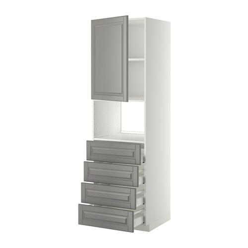 МЕТОД / МАКСИМЕРА Высок шкаф д/духовки/дверца/4ящика - 60x60x200 см, Будбин серый, белый