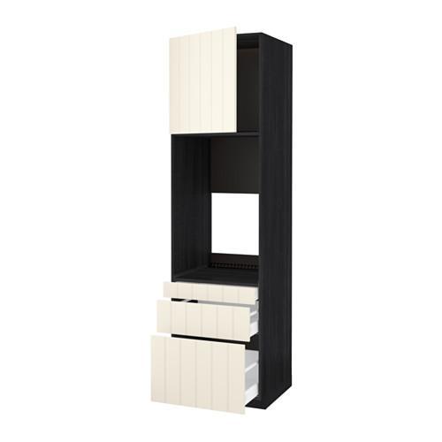 МЕТОД / МАКСИМЕРА Выс шкаф д/двойн духовки/3ящ/дверца - под дерево черный, Хитарп белый с оттенком, 60x60x220 см