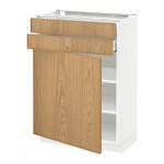 МЕТОД / МАКСИМЕРА Напольный шкаф с дверцей/2 ящиками - 60x37 см, Экестад дуб, белый