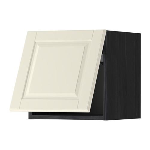 МЕТОД Горизонтальный навесной шкаф - 40x40 см, Будбин белый с оттенком, под дерево черный