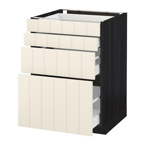 МЕТОД / МАКСИМЕРА Напольн шкаф 4 фронт панели/4 ящика - 60x60 см, Хитарп белый с оттенком, под дерево черный
