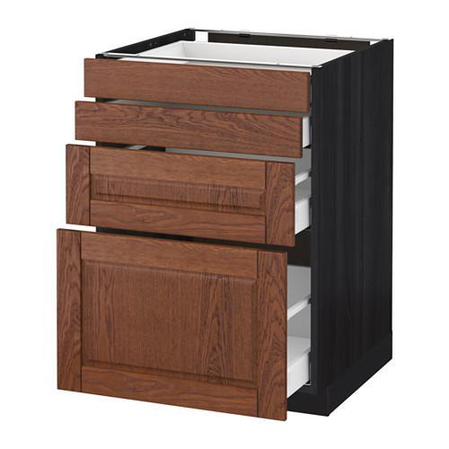 МЕТОД / МАКСИМЕРА Напольн шкаф 4 фронт панели/4 ящика - 60x60 см, Филипстад коричневый, под дерево черный