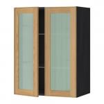 МЕТОД Навесной шкаф с полками/2 стекл дв - 60x80 см, Экестад дуб, под дерево черный