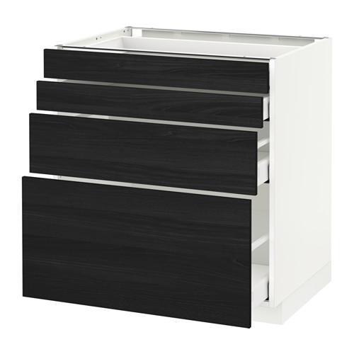 МЕТОД / МАКСИМЕРА Напольн шкаф 4 фронт панели/4 ящика - 80x60 см, Тингсрид под дерево черный, белый