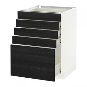 METHOD / FORVARA Base cabinet with drawers 5 - 60x60 cm Tingsrid wood black, white