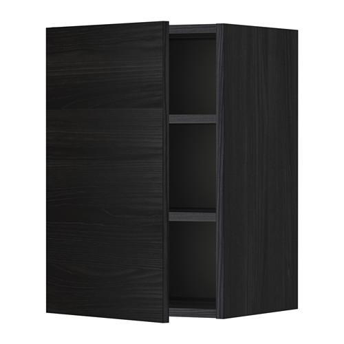 МЕТОД Шкаф навесной с полкой - 40x60 см, Тингсрид под дерево черный, под дерево черный