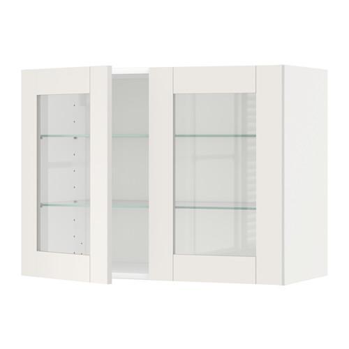 МЕТОД Навесной шкаф с полками/2 стекл дв - 80x60 см, Сэведаль белый, белый