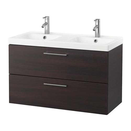 GODMORGON / ODENSVIK Sink case with 2 box - black-brown