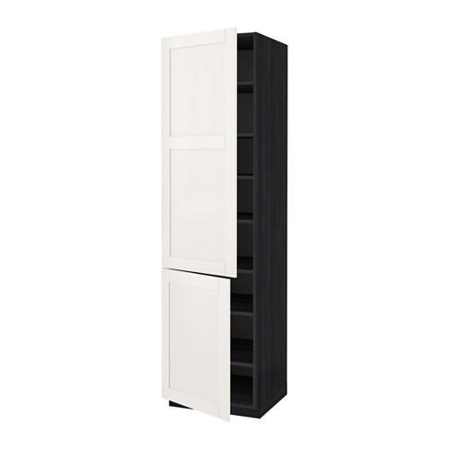 МЕТОД Высокий шкаф с полками/2 дверцы - 60x60x220 см, Сэведаль белый, под дерево черный