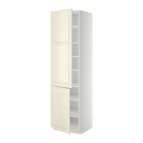 МЕТОД Высокий шкаф с полками/2 дверцы - 60x60x220 см, Будбин белый с оттенком, белый
