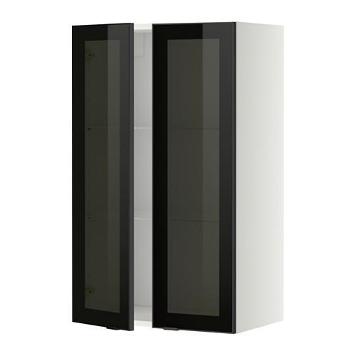 МЕТОД Навесной шкаф с полками/2 стекл дв - 60x100 см, Ютис дымчатое стекло/черный, белый
