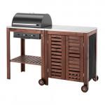 ЭПЛАРО / КЛАСЕН Угольный гриль+модуль д/хранения - коричневая морилка/цвет нержавеющей стали