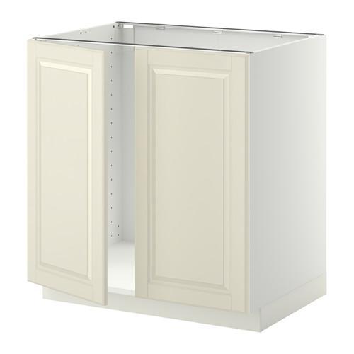 МЕТОД Напольн шкаф д раковины+2 двери - Будбин белый с оттенком, белый