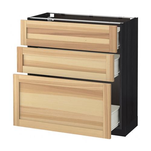 MÉTODO / FORVARA base del armario con cajones 3 - madera de color negro, Torhemn fresno natural, 80x37 cm