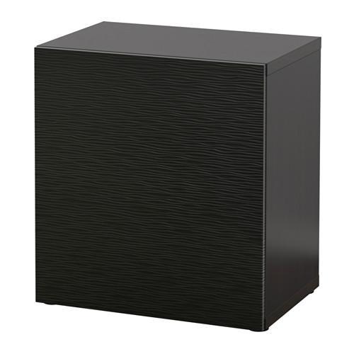 БЕСТО Стеллаж с дверью - черно-коричневый/Лаксвикен черный