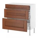 ФАКТУМ Напольный шкаф с 3 ящиками - Ликсторп коричневый, 40x37 см