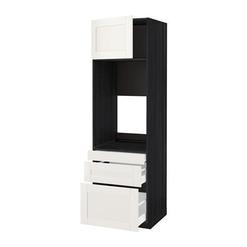 МЕТОД / МАКСИМЕРА Выс шкаф д/двойн духовки/3ящ/дверца - под дерево черный, Сэведаль белый, 60x60x200 см