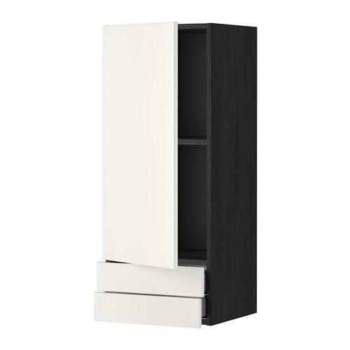 МЕТОД / МАКСИМЕРА Навесной шкаф с дверцей/2 ящика - 40x100 см, Веддинге белый, под дерево черный