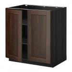 МЕТОД Напол шкаф с полками/2двери - 80x60 см, Эдсерум под дерево коричневый, под дерево черный